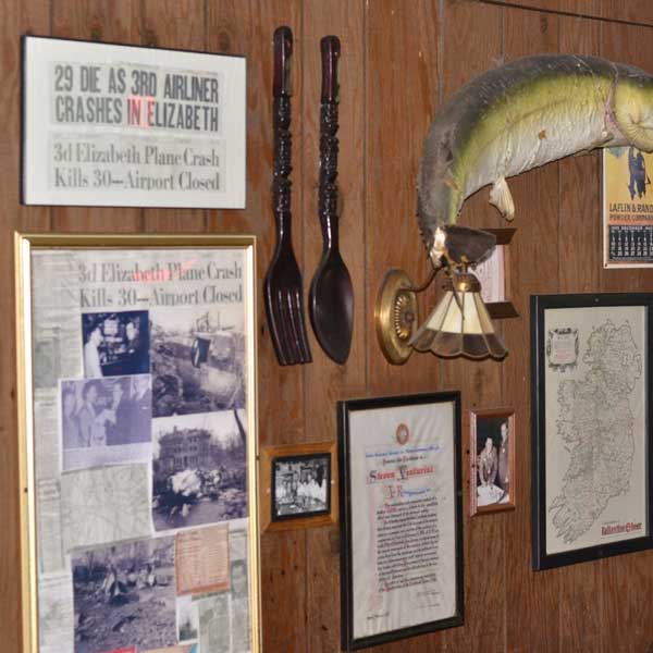 ARTICLES AND ARTIFACTS ADORN THE WALLS
